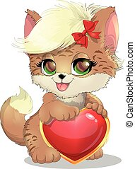 cats and heart - kitten who holds a heart on a white...