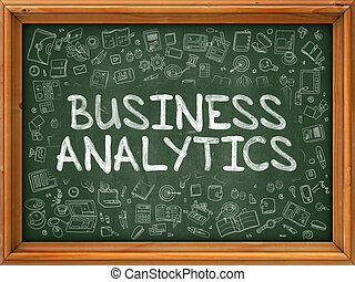 Hand Drawn Business Analytics on Green Chalkboard Hand drawn...