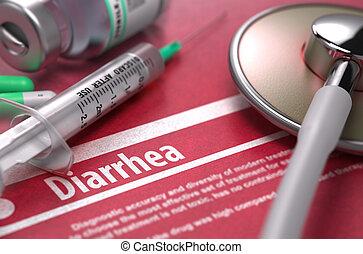 Diarrea, -, impreso, diagnóstico, en, rojo, fondo.,