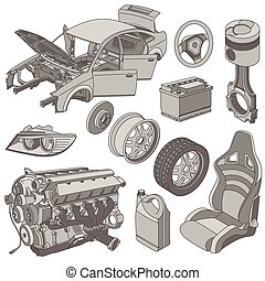 Car parts icons isometric