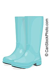 Blue rubber boots on a white background