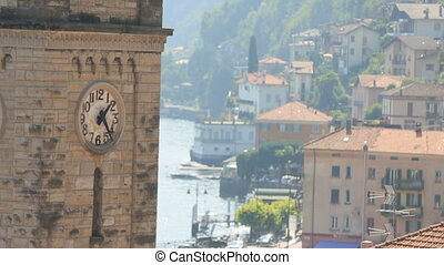 Italy Como Clock Tower With Background of Town.