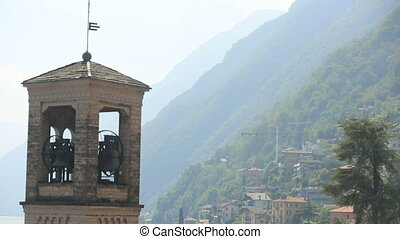 Bell Tower Italy Como With Background Mountains