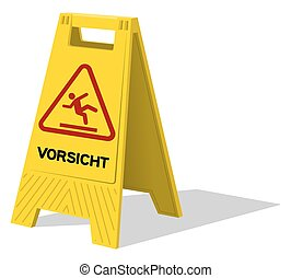Vorsicht caution two panel yellow sign