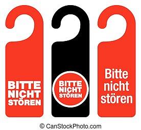 Bitte nicht storen do not disturb signs - Set of three red,...