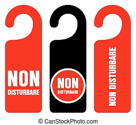 Non disturbare do not disturb signs - Set of three red,...