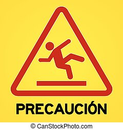 Yellow and red precaucion symbol - Square symbol of bright...