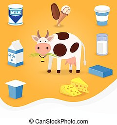Cow and dairy products icons Milk, cheese, butter, ice cream...