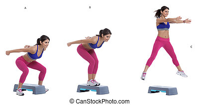 Straddle jumps - Step by step instructions: Stand straight...