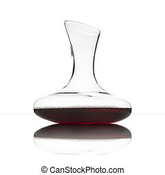 decanter - classical glass decanter with red wine, on white...