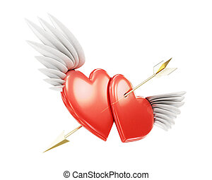 Two winged heart pierced by an arrow on a white background. 3d r