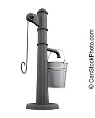 Street water pump on a white background 3d rendering