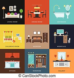 Interior of different rooms types Vector illustration in...