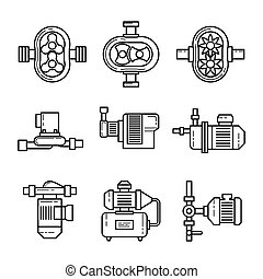 Water pump vector line icons sets Tube construction metal,...