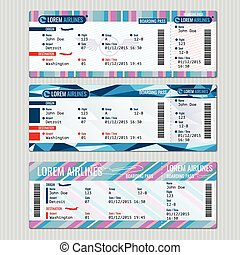 Airline boarding pass tickets vector template Card...