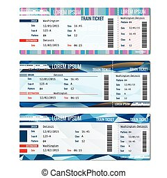 Train tickets vector set Railway pass card, journey...