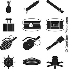 Bomb, dynamite and explosive vector icons set Bomb weapon,...