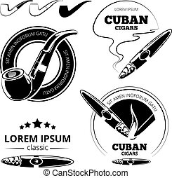 Tobacco leaves, cigars and hookah labels vector set. Cuban...