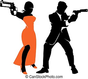 Spy couple vector set Detective man and woman, weapon and...
