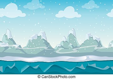 Seamless cartoon winter vector landscape for computer game