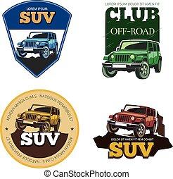 Off-road car vector emblems, labels and logos. Transport...