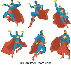 Superhero silhouettes vector character set
