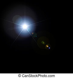 Lens Flare - Lens flare artistic effect isolated on black...