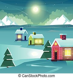 Winter night mountains and houses Vector Illustration -...