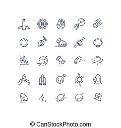 Space and astronomy vector line icons
