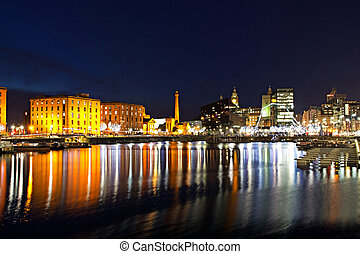 The Albert Dock complex in Liverpool at night