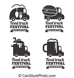 Vector food truck logos, emblems and badges Label emblem,...