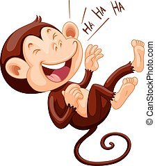 Little monkey laughing alone