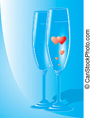 Romantic Event - A couple of champagne flutes with hearts...