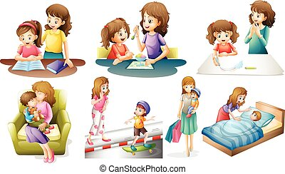 Mother and child in different actions illustration
