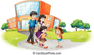 Family members in front of the school