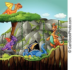 Dragons living in the cave illustration