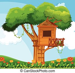 Nature scene with treehouse in the garden illustration