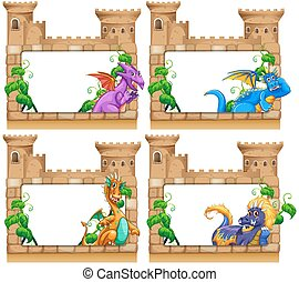 Frame design with dragon and castle illustration