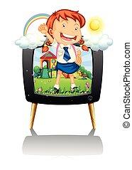 Girl in school uniform on tv screen