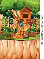 Boy and girl playing at the treehouse illustration