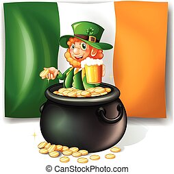 Leprechan in the pot of gold illustration