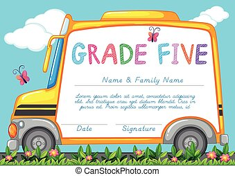Certificate with background of schoolbus in the park...