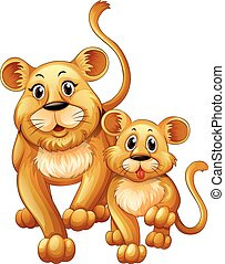 Mother lion and little cub