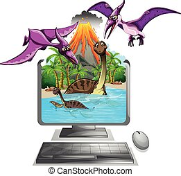 Computer screen with dinosaurs in the lake illustration