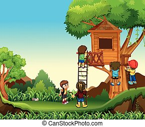 Children climbing up the treehouse illustration