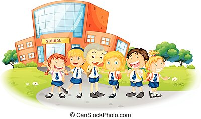 Children in school uniform at school illustration