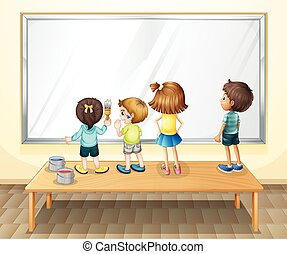Children painting on the whiteboard
