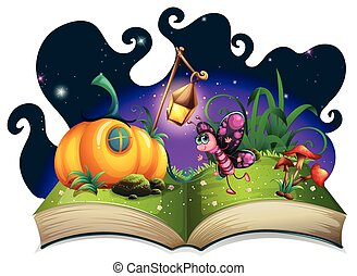 Butterfly flying in the magic garden illustration