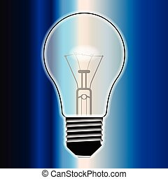 Blue Light Bulb - A typical standard light bulb with glow...