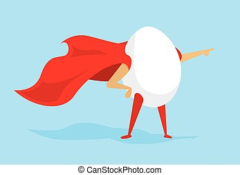 Egg super hero standing with cape - Cartoon illustration of...